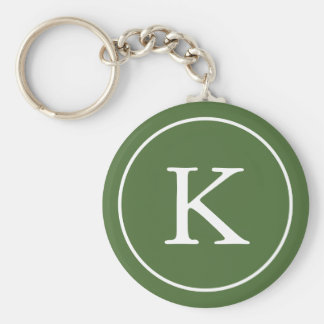 Forest Green and White Circle | Monogram Initial Keychain