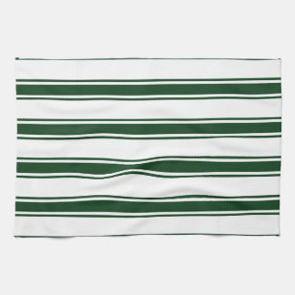 Forest Green and White Stripes; Striped Kitchen Towel