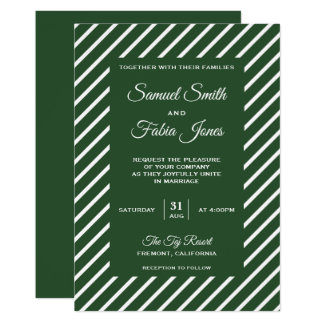 Forest Green and White Stripes Wedding Invitation