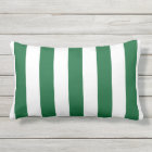 Forest Green and White XL Stripes Pattern Outdoor Pillow