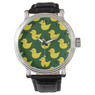 Forest Green and Yellow Rubber Duck, Ducky Wristwatch