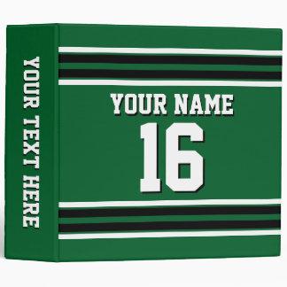 Forest Green Black Team Jersey Custom Number Name 3 Ring Binders