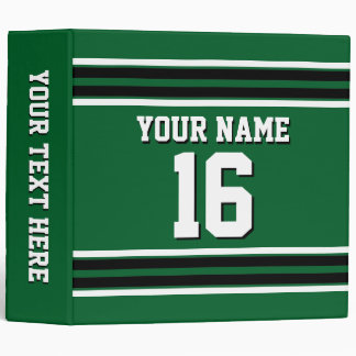 Forest Green Black Team Jersey Custom Number Name Binder