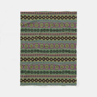 Forest Green Boho Aztec Pattern Fleece Blanket