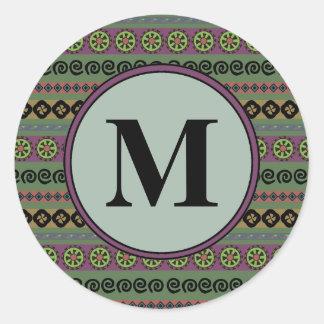 Forest Green Boho Aztec Pattern Monogram Classic Round Sticker