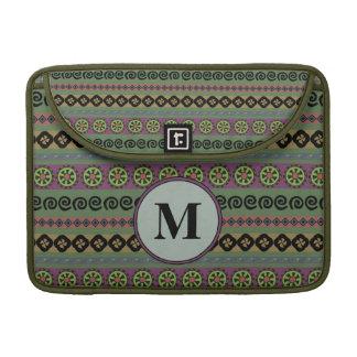 Forest Green Boho Aztec Pattern Monogram Sleeve For MacBook Pro