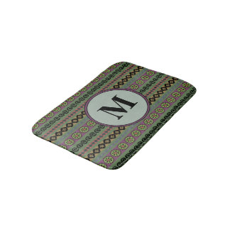 Forest Green Boho Modern Aztec Pattern Monogram Bath Mat