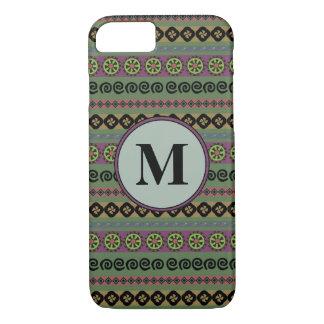 Forest Green Boho Modern Aztec Pattern Monogram Case-Mate iPhone Case