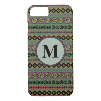 Forest Green Boho Modern Aztec Pattern Monogram iPhone 8/7 Case