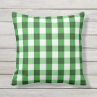 Forest Green Gingham Pattern Outdoor Pillow