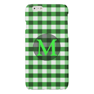 Forest Green Gingham Pattern Personalized Monogram
