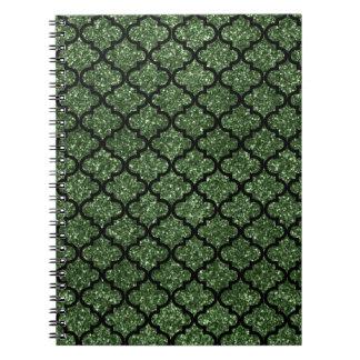 Forest green glitter moroccan notebook