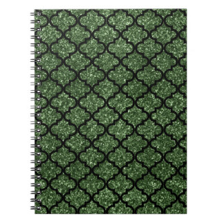 Forest green glitter moroccan spiral note books