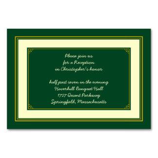 Forest Green Gold Bar Mitzvah Reception Insert Card