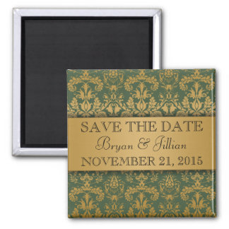 Forest Green & Gold Regal Damask Save the Date Square Magnet
