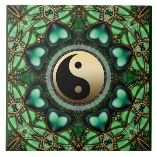Forest Green Hearts Gold Yin Yang Ceramic Tile