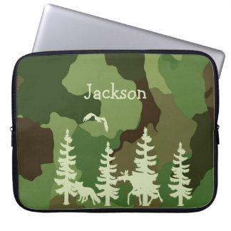 Forest green hunters camouflage and wildlife print laptop sleeve