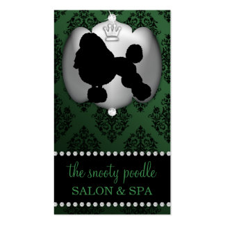 Forest Green Jeweled Damask Dog Grooming/Spa Business Card
