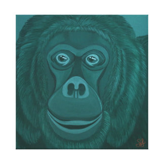 Forest Green Orangutan Canvas Print
