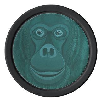 Forest Green Orangutan Poker Chips