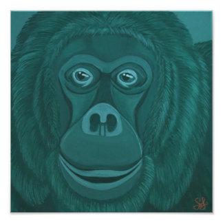 Forest Green Orangutan Print