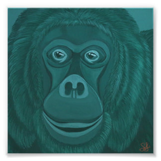Forest Green Orangutan Print Art Photo