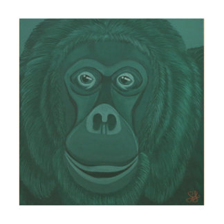 Forest Green Orangutan Wood Wall Panel