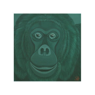 Forest Green orangutan Wood Wall Panel Wood Canvas