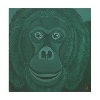 Forest Green Orangutan Wood Wall Panel Wood Prints