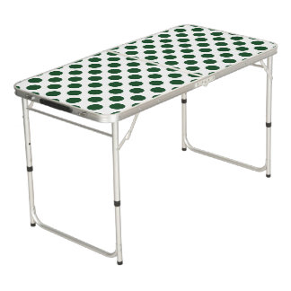 Forest Green Polka Dots Beer Pong Table