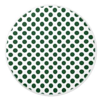 Forest Green Polka Dots Ceramic Knob
