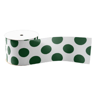 Forest Green Polka Dots Grosgrain Ribbon