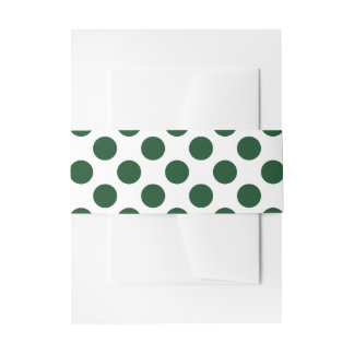 Forest Green Polka Dots Invitation Belly Band