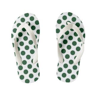 Forest Green Polka Dots Kid's Flip Flops