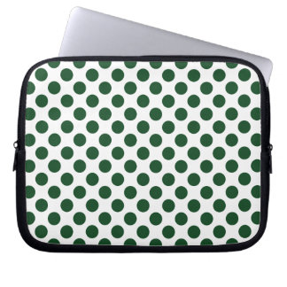 Forest Green Polka Dots Laptop Sleeve