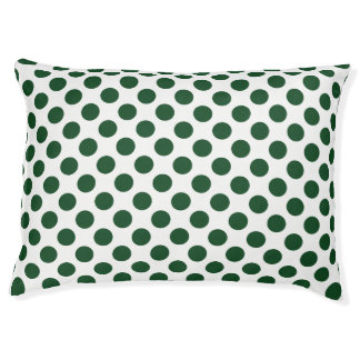 Forest Green Polka Dots Large Dog Bed
