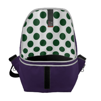 Forest Green Polka Dots Messenger Bags