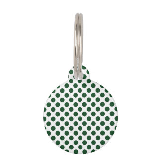 Forest Green Polka Dots Pet Name Tag