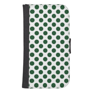Forest Green Polka Dots Samsung S4 Wallet Case