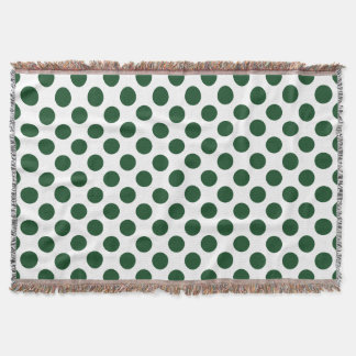 Forest Green Polka Dots Throw Blanket