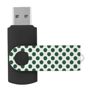 Forest Green Polka Dots USB Flash Drive