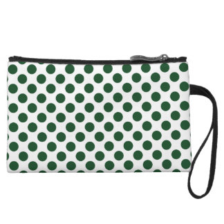 Forest Green Polka Dots Wristlet