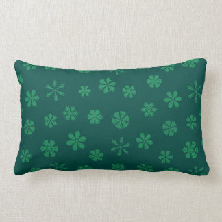 Forest Green Snowflakes on Dark Teal Lumbar Pillow