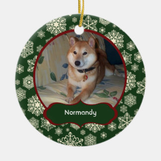 Forest Green Snowflakes Personalized Photo Round Round Ceramic Ornament