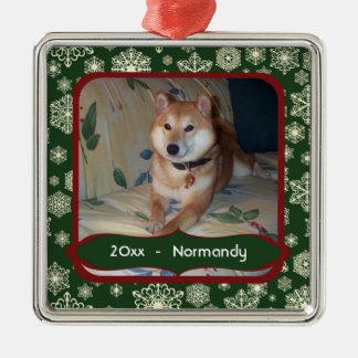 Forest Green Snowflakes Personalized Photo Square Silver-Colored Square Ornament