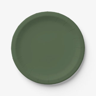 Forest Green Solid Colour Paper Plate