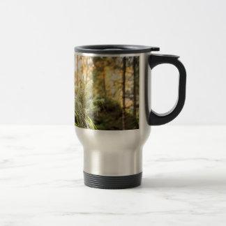 Forest green trees travel mug