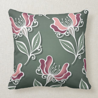 Forest Green Tulip Floral Decorative Pillow