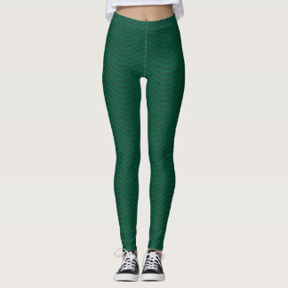 Forest Green Wavy Lines Leggings