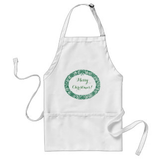 Forest Green White Christmas Wreath to Customize Standard Apron